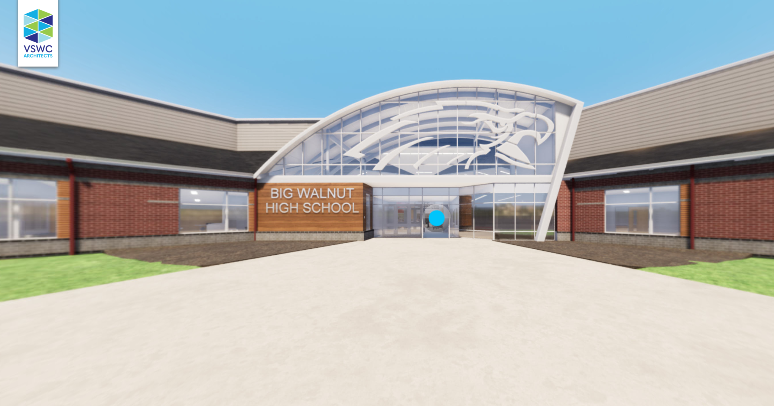 Snapshot of virtual tour lobby of new Big Walnut High School